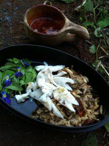 Hiillostettua ahventa ja sienirisottoa