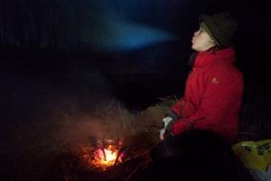 Valmistimme sienimunakasta iltapalaksi pienellä risunuotiolla.